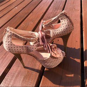 Betsey Johnson Polka Dot Peep Toe Stacked Heels